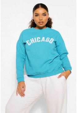 Blauwgroen green Plus gewassen Chicago oversized sweat