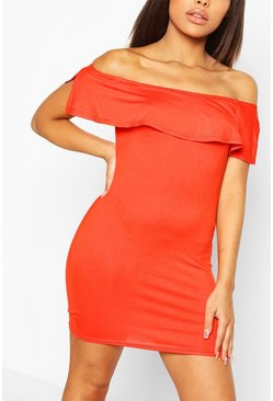 Petite Off The Shoulder Frill Bodycon Dress, Orange naranja