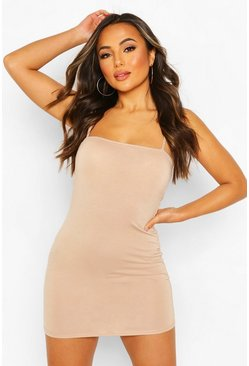 Stone beige Petite Square Neck Mini Bodycon Dress