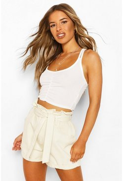 Ivory white Petite Ruched Front Double Strap Cami Top