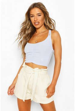 Sky blue Petite Ruched Front Double Strap Cami Top