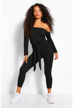 Black Petite One Shoulder Tie Waist Rib Jumpsuit