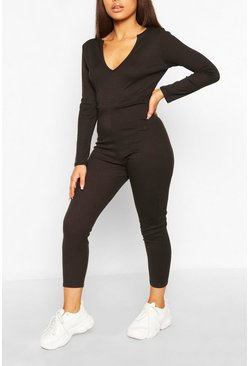 Black Petite Soft Rib V-Neck Jumpsuit