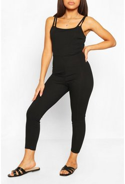Black Petite Strap Detail Fitted Rib Jumpsuit
