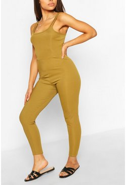 Olive Petite Strap Detail Fitted Rib Jumpsuit