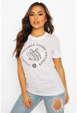 White Petite 'Cosmic Dreamer' Slogan T-Shirt