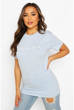 Light blue blue Petite 'I Know Huh' Slogan T-Shirt