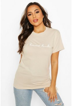 Stone beige Petite 'I Know Huh' Graphic T-Shirt