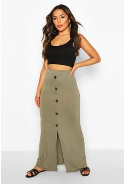 Khaki Petite Button Through Maxi Skirt