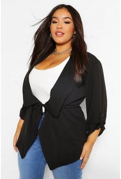 Black Plus Waterfall Drawstring Waist Duster Jacket