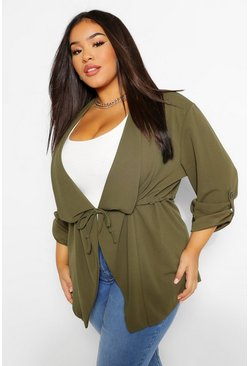 Khaki Plus Waterfall Drawstring Waist Duster Jacket