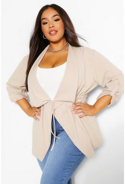 Stone beige Plus Waterfall Drawstring Waist Duster Jacket