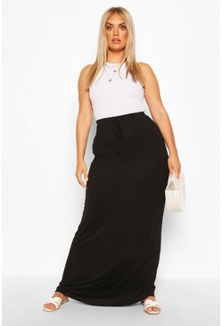 Black svart Plus Basic Tie Front Maxi Skirt
