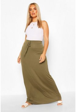 Khaki Plus Basic Tie Front Maxi Skirt