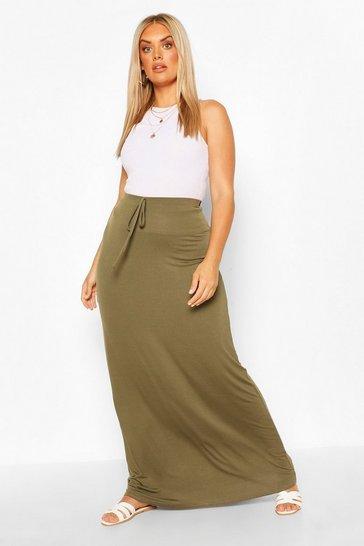 Khaki Plus Basic Tie Front Maxi Skirt