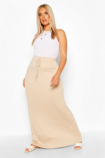 Stone beige Plus Basic Tie Front Maxi Skirt