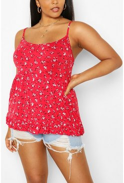 Red Plus Ditsy Floral Tiered Smock Cami