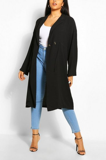 Black Plus Double Breasted Drawstring Waist Duster Coat