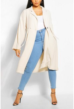 Stone beige Plus Double Breasted Drawstring Waist Duster Coat