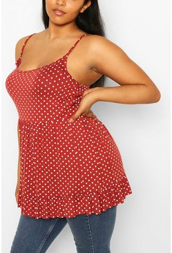 Rust orange Plus Polka Dot Tiered Smock Camisole