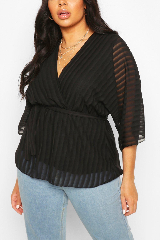 Plus Stripe Kimono Sleeve Peplum Wrap Tie Blouse 8