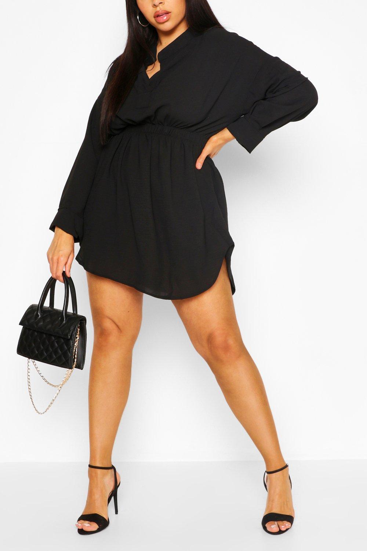Plus Shirred Waist Shirt Dress 6