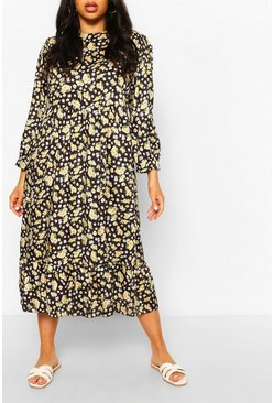 Black Plus Floral Tiered Midi Smock Dress