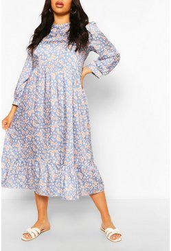 Blue Plus Floral Tiered Midi Smock Dress