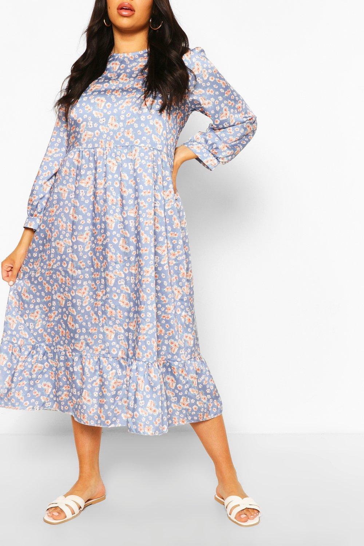 Plus Floral Tiered Midi Smock Dress 3