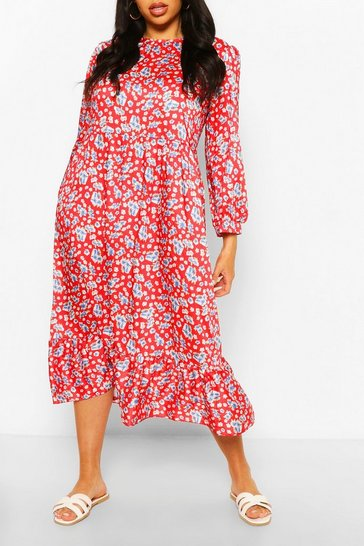 Red Plus Floral Tiered Midi Smock Dress