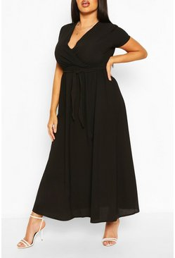 Black Plus Wrap Cap Sleeve Maxi Dress