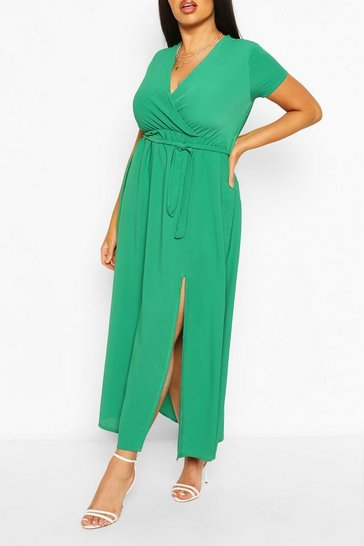 Green Plus Wrap Cap Sleeve Maxi Dress