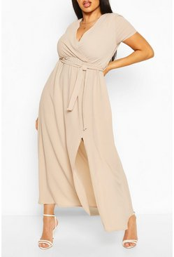 Stone Plus Wrap Cap Sleeve Maxi Dress