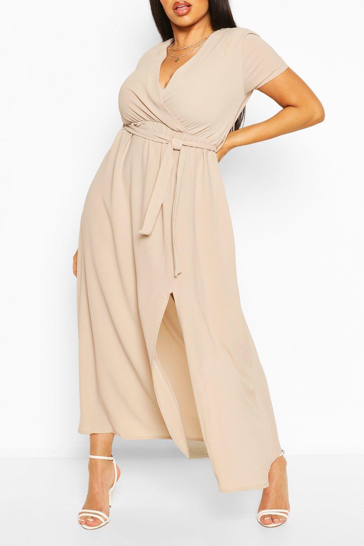 Plus Wrap Cap Sleeve Maxi Dress 2