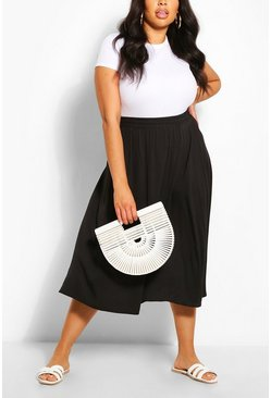 Black Plus Woven Full Circle Midi Skirt