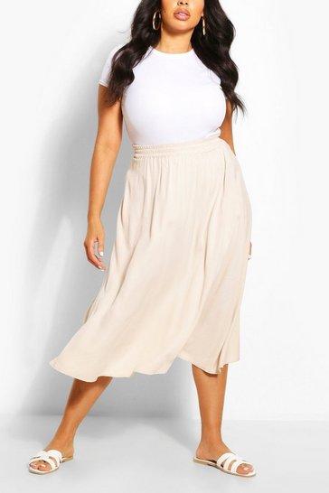 Stone beige Plus Woven Full Circle Midi Skirt