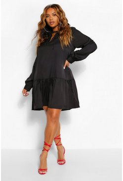 Black Plus Woven Ruffle Tiered Skater Dress