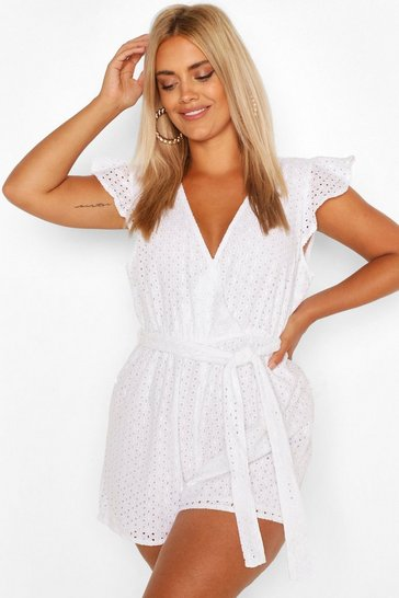 White Plus Broiderie Wrap Playsuit