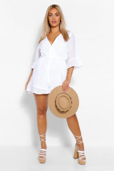 White Plus Broderie Ruffle Sleeve Playsuit