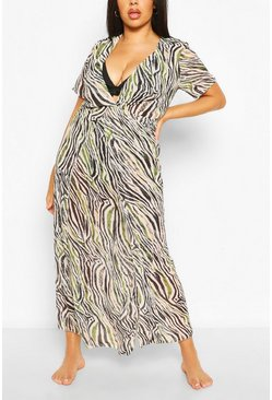Ivory white Plus Zebra Print Maxi Beach Dress