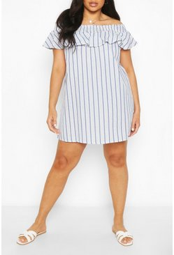 Blue Plus Stripe Bardot Ruffle Shift Dress