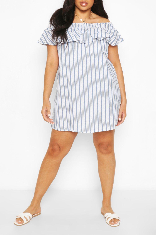 Plus Stripe Bardot Ruffle Shift Dress 8