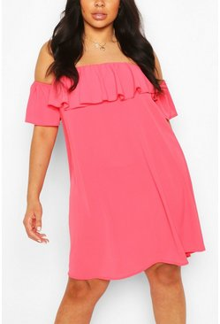 Coral pink Plus Off The Shoulder Shift Dress