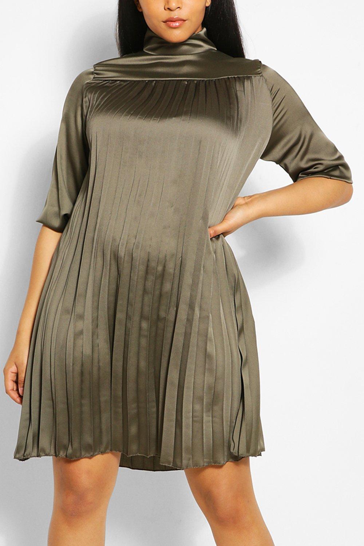 Plus Pleated Satin Swing Dress 6