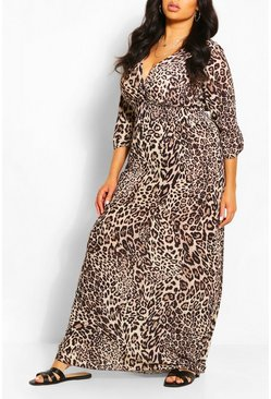 Brown Plus Leopard Print Shirred Waist Wrap Maxi Dress