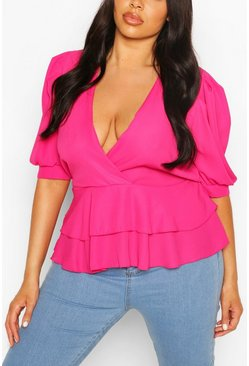 Fuchsia pink Plus Double Ruffle Wrap Puff Sleeve Peplum Top