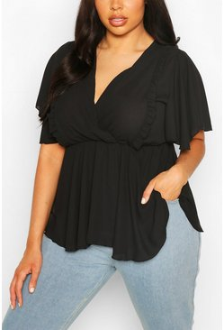 Black Plus Angel Sleeve Ruffle Peplum Top