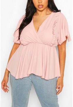 Blush pink Plus Angel Sleeve Ruffle Peplum Top