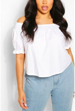 Ivory white Plus Shirred Poplin Bardot Top