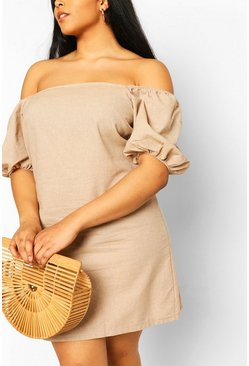 Stone beige Plus Bardot Linen Shift Dress